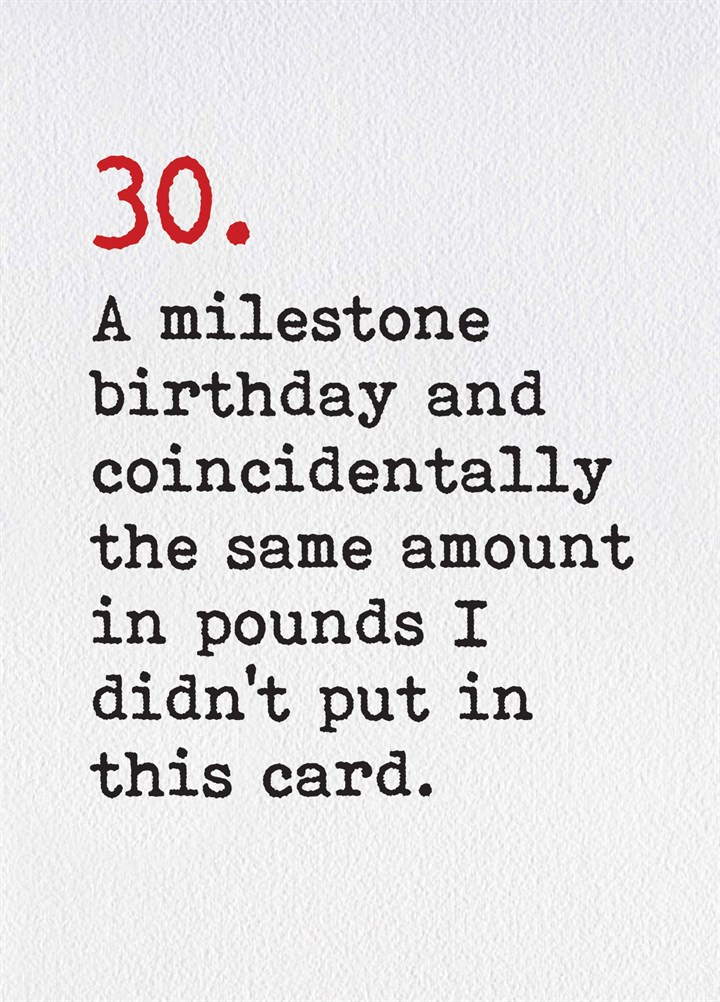 30th A Milestone Birthday