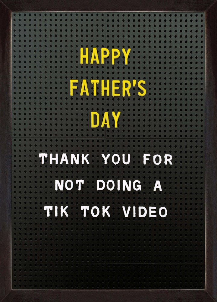 Thanks For Not Doing A Tik Tok Video
