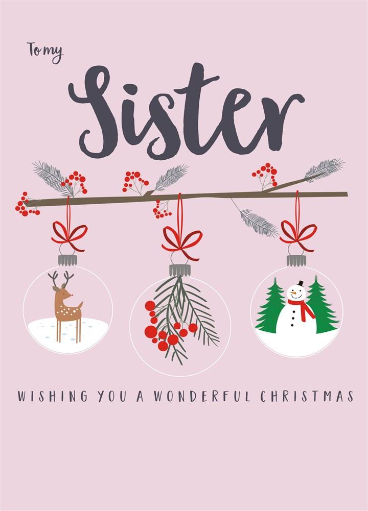 To My Sister Christmas Card