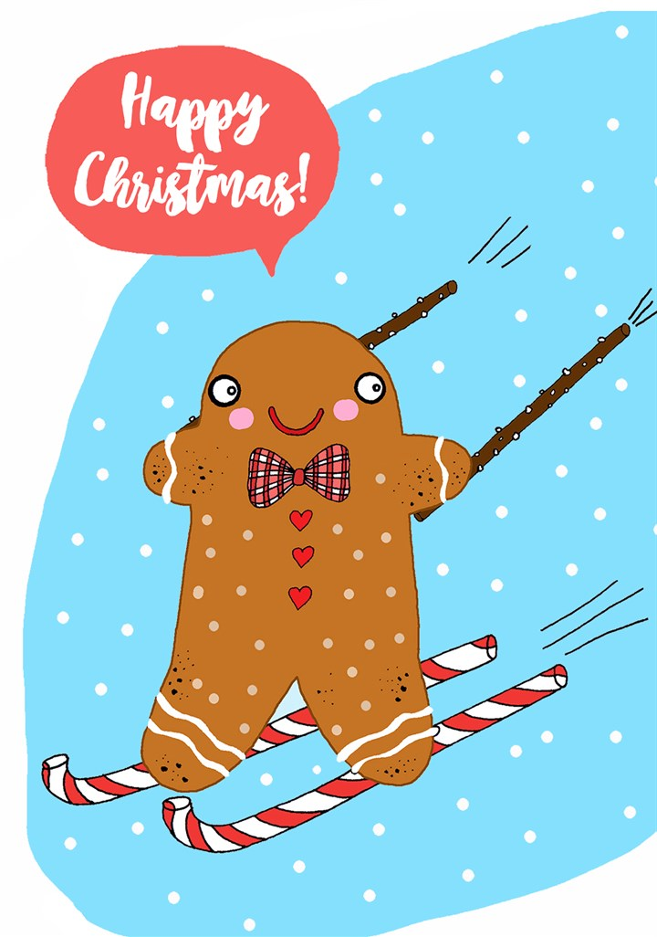 Gingerbread Man Skiing On Candy Canes