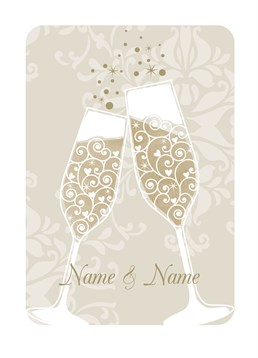 Champage Glasses card by Art File.Personalise this card to congratulate the new Fiance Fiance