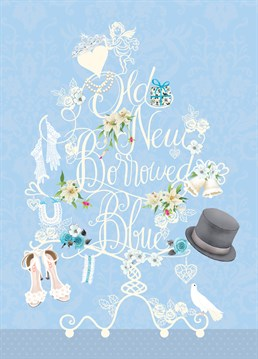 Old New Borrowed Blue card by Art File.The perfect traditional wedding card for traditional couples who follow traditions!