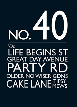 No. 40 card by Bluebell 33. They say life begins at 40, don't they? Wish them a happy birthday with this funky card!