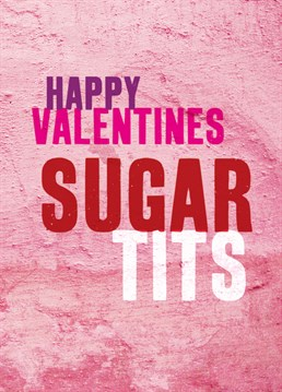Sugar Tits. Valentine's Day Card by Brainbox Candy. Keep your valentine message short and sweet with this cheeky card.