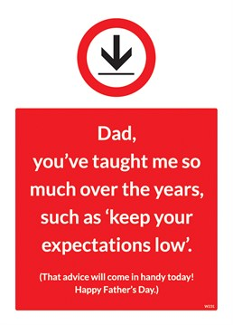 Exceed your Dad's standards with this hilarious Father's Day card by Brainbox Candy.