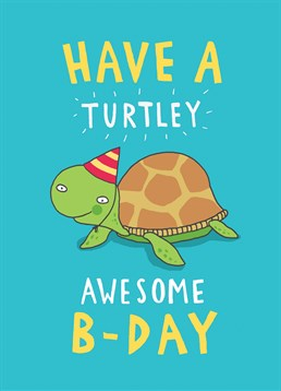 Wish someone a turtley awesome b-day, with this cute bold funky card by Brainbox Candy.