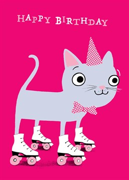 This kitty is sending you birthday wishes as it skates on by. A cute Cardinky birthday card for a young friend or family member.