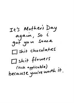 Totally wasn't stolen from a L'oreal hair advert. Put in the minimal amount of effort while still showing you care with this Cardinky Mother's Day card.