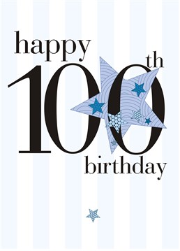 100th Blue Star This Personalised Birthday Card