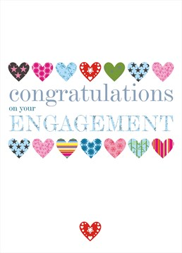 A bright and fun card by Claire Giles, perfect for wishing the couple congratulations on their engagement.