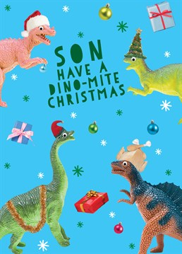 Dinosaurs are a boys best friend! Show your son you've been paying attention this year with a roar-some festive card by Scribbler.