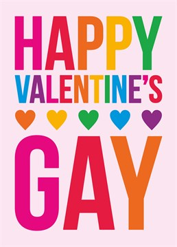 Delightful same-sex Valentine's card by Dean Morris, complete with rainbows.