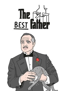 The Best Father. Maybe your Dad's a classic film buff? Compare him to none other than the Godfather, but without all the crime and murder, obvs. Father's Day design by Scribbler. This white Father's Day card says The Best Father and has a drawing of Vito Corleone, The Godfather.