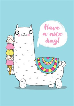 Chill out and enjoy an ice cream with this cool llama. Send this Forever Funny card to someone on their birthday.