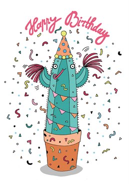 Say happy birthday with this card by Forever Funny and chill out with this party cactus.