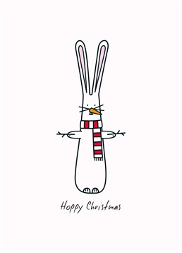 Hoppy Christmas Scarf, by Hoppy Bunnies. This cheeky bunny is trying so hard to be a snowman but we think it's cool enough! Spread some cuteness this Christmas with this sweet card.