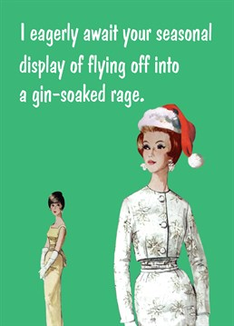 Gin-Soaked Rage. Christmas Card by KissMeKwik. Know someone who gets a bit too carried away with their Gin drinking over the festive period? This is the perfect card for them.