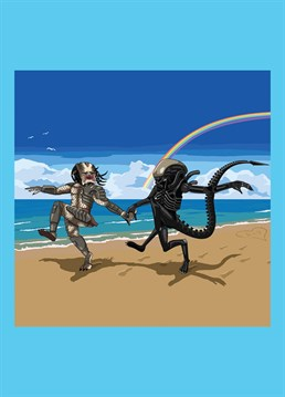 Predator and Alien skipping down the beach, hand in hand, as requested by Matthew Hawkins. Hilarious Jim'll Paint It design by Lesser Spotted Images, the perfect card for any Sci-fi fan.