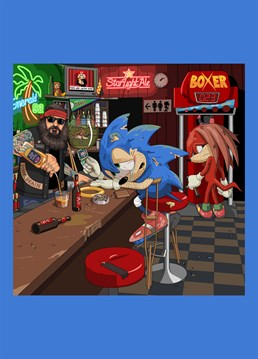 Sonic the Hedgehog on crutches, drowing his sorrows having completely ruined his knees after 26 years of high impact running, as requested by David Sinclair. Hilarious Jim'll Paint It design by Lesser Spotted Images.
