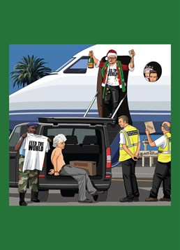 Bono arriving in Africa to let them know it's Christmas, only to be greeted by Inland Revenue and a crying, detained Bob Geldof, as requested by Chris Adamson. Jim'll Paint It design by Lesser Spotted Images.