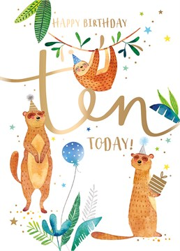 Wish an animal loving 10 year old a very Happy Birthday with this cute and cuddly Ling Design card.