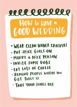 And most importantly, let your bloody hair down because you're finally married! Send this birthday checklist to advise your bestie on her wedding day. Designed by Lucy Maggie.