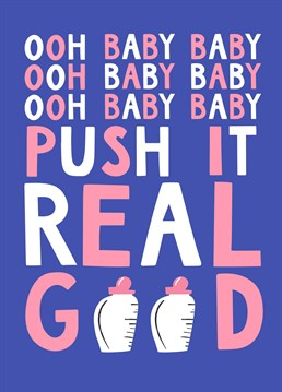 Due date? Send some Salt n Peppa style words of encouragement with this funny new baby card by Lucy Maggie.