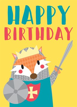 This Memelou card is perfect for a brave birthday knight of the realm!
