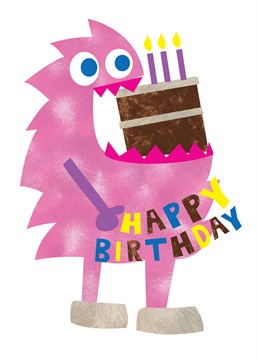 Cake Monster Happy Birthday card by Belinda Reynell Designs. Birthday card for the monstrous and cake-loving!