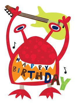 Guitar Monster Birthday card by Belinda Reynell Designs. Birthday card for your musical friend!