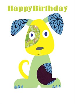 Birthday Puppy Green Blue card by Belinda Reynell Designs. Send this cheery patterned dog to wish your loved one a happy birthday!