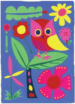 Jungle Owl card by Belinda Reynell Designs. Brighten anyone's day with this card for any occasion. Full of colour and featuring a cute little owl to bring a smile to their face.
