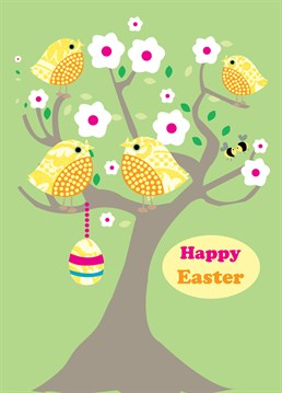 Easter Chirpy Tree card by Belinda Reynell Designs. Perfect to say Happy Easter to friends and family.