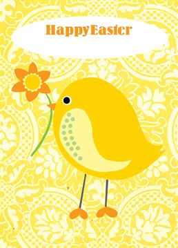 Yellow Easter Chick card by Belinda Reynell Designs. Personalise this Easter card to wish the most special people in your life a hoppy holiday!