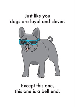 Dogs Are Loyal And Clever, by Objectables. Dogs are loyal af, until they pee on your bed - then they're a bell end. Send this card to the loyal/bell end like person in your life!