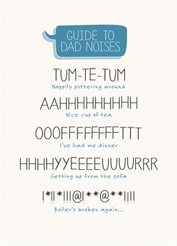 This Paper Plane card explains Dad language to the uninitiated, and reminds Dad he's saying this stuff out loud.