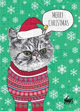 Cute Christmas cat! (Looks a bit grumpy to me - don't cats like being tied into socks?) For those crazy cat lovers, this Rose Hill card is purrrfect.