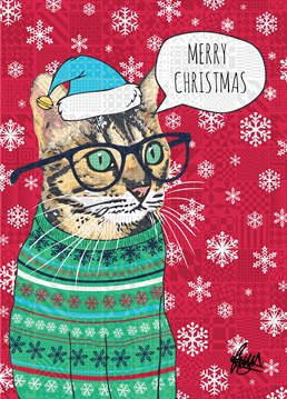 Cute tabby in a lovely Christmas jumper wearing specs and a Santa hat. So traditional it's almost boring. Card designed by Rose Hill.
