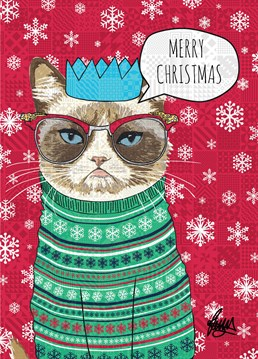 Don't be grumpy like the cat on this Rose Hill card. Feel the seasonal spirit and put on your Christmas patterned jumper! You'll have to get it out when Auntie comes over anyway.