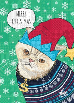 I hope you have more Christmas spirit than the cat on this Rose Hill card - he's incandescent with rage, so stand back when he gets out of this outfit.