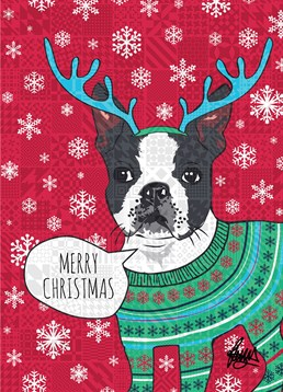 Jaunty dog wishes you a merry Christmas on this card from Rose Hill.