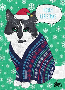 Black and White Cat Christmas Jumper, by Rose Hill.Who knew that a cat could rock a Christmas jumper? Brighten up their day with this festive feline card.