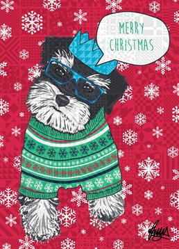 Black And Grey Dog Blue Christmas Hat And Glasses, by Rose Hill. This dog has taken time off it's busy schedule to wish them a Merry Christmas. Make sure to pass the message on with this cool card.