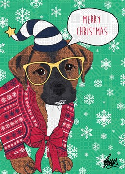 Dog Christmas Jumper Red Jumper Yellow Glasses, by Rose Hill. This dog is totally psyched for Christmas are you? Get them psyched for Christmas with this festive card.