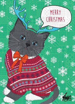 Grey Kitten with Orange Bowtie, by Rose Hill. No matter whether they're a dog or a cat person, everyone loves kittens. Send this super cute card to spread some Christmas cheer!