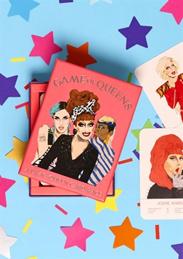 The Queens have arrived! A mixture of Ru Paul's Drag Race stars and other famous names in drag Great gift for fans of Drag Race It's a drag race to the finish It's time to get your drag on ladies and gentlemen thanks to this brilliant Drag Queen Cards game. Showcasing the finest talent from Ru Paul's hugely popular Drag Race as well as the top names in the drag industry, this game guarantees a night of fun! Who is the most outrageous – Latrice Royale or Divine? Who is the funniest Bianca Del Rio or Lily Savage? Most of all, who's the biggest legend! Break out the huge hair, sparkling make-up, fake lashes and glitter and pitch queen against queen. Get those pioneering legends of the 70s facing off with the killer queens of the modern scene and find out just who is the greatest. Games & Fun Most Popular For Her For Him Lockdown Gifts Christmas Party