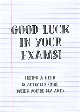 Take some off the stress of from exam seasons with this card by Scribbler.