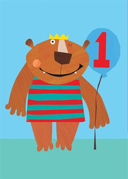 A winking bear with an inflatable is the perfect Square Card Company offering for any one-year-old.