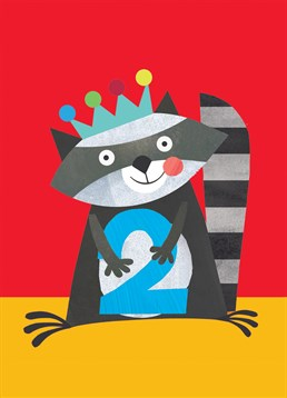 A cuddly raccoon is the perfect Square Card Company offering for any two-year-old.