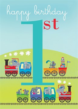 A card full of choo choo trains is the perfect Square Card Company offering for any one-year-old.